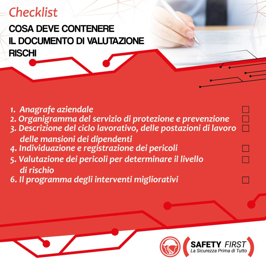 Cosa deve contenere il doucmento di valutazione dei rischi?